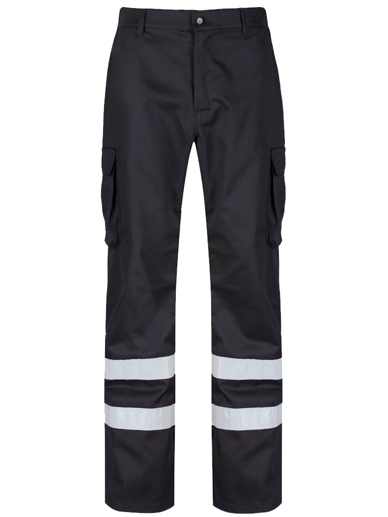 Black Cargo Trouser Reflective Tape