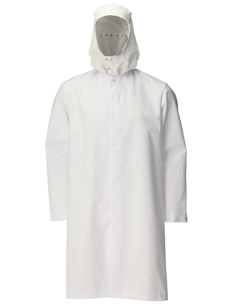 super white hooded food trade coat