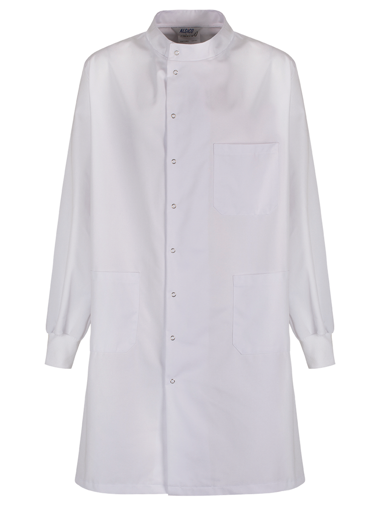 lab coat with full protection - cuffed sleeves and high neck