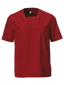 Front View of Burgundy Scrub Top