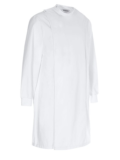 lab coat with cuffed sleeves and high neck and hidden buttons