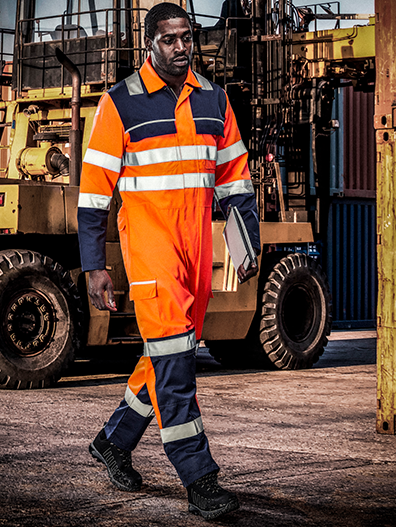 Picture of Gryzko® Hi-Vis Contrast Coverall - Hi Vis Orange and Navy