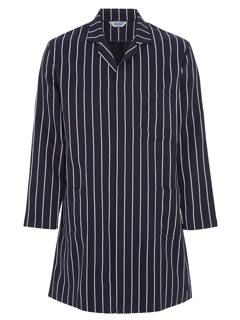 Picture of Butchers Stripe Coat (255gsm) - Navy/White