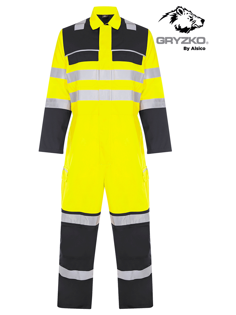 Picture of Gryzko® Hi-Vis Contrast Coverall - Hi Vis Yellow and Navy