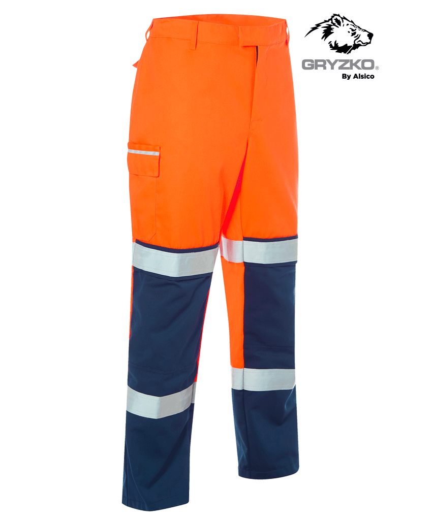 Picture of Gryzko® Hi Vis Contrast Trouser - Hi Vis Orange/Navy