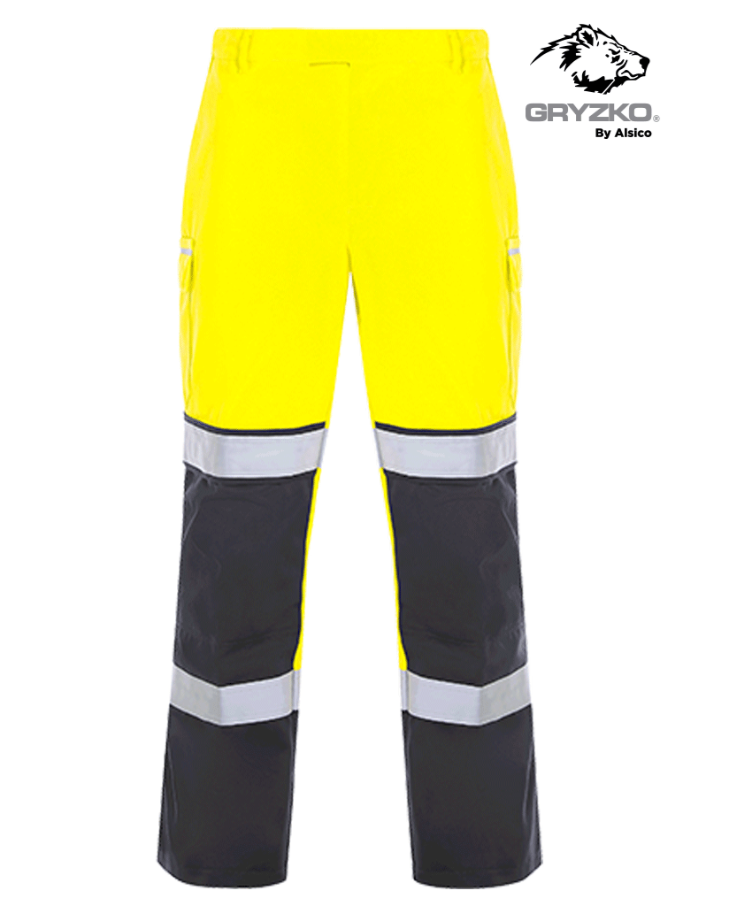 Picture of Gryzko® Hi Vis Contrast Trouser - Hi Vis Yellow/Navy
