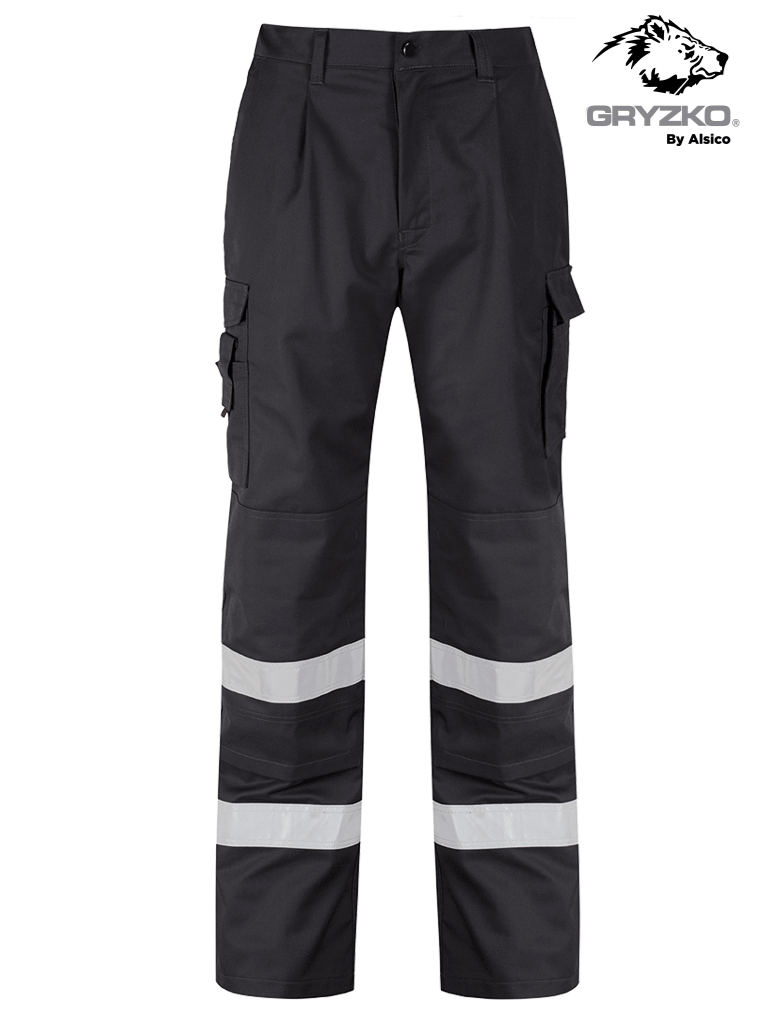 Picture of Gryzko® Cargo Trouser (Reflective Tape & Knee Pocket) - Black