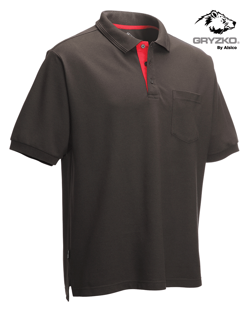 Picture of Gryzko® Performance Pocket Polo - Charcoal/Red