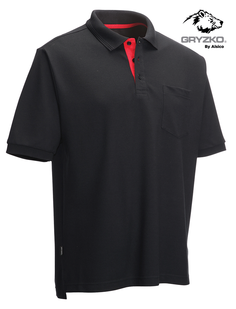 Picture of Gryzko® Performance Pocket Polo - Navy/Red
