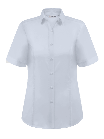 Picture of Ladies Short Sleeve Oxford Shirt - White