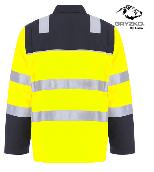 Picture of Gryzko® Hi-Vis Contrast Jacket - HV Yellow/Navy
