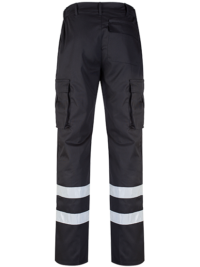 Black Cargo Trouser Reflective Tape Rear