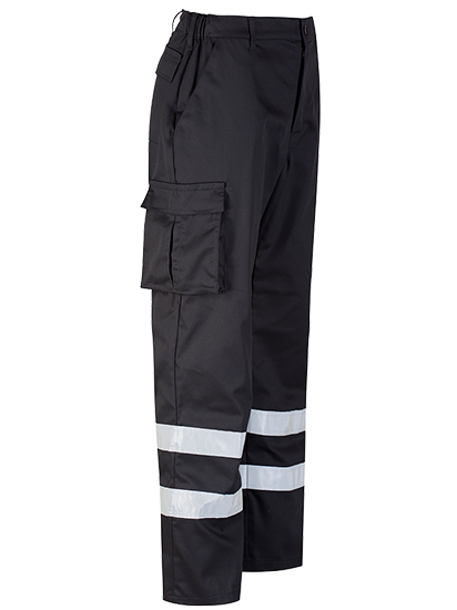Black Cargo Trouser Reflective Tape Right Side