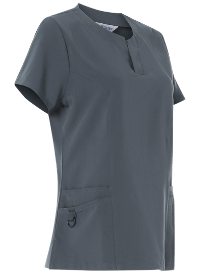 slate grey 4 way stretch nurses tunic side on