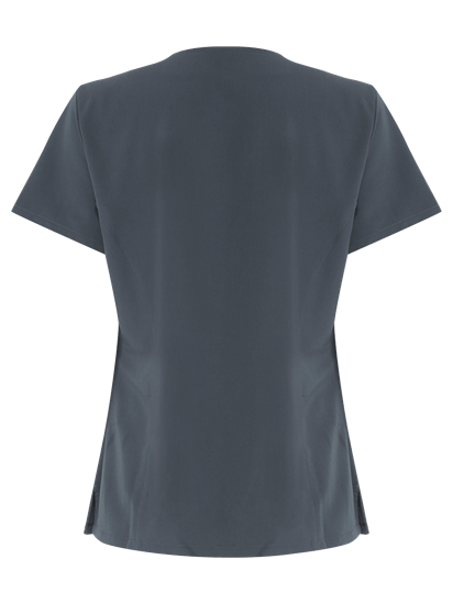 4 way slate grey stretch tunic from the back
