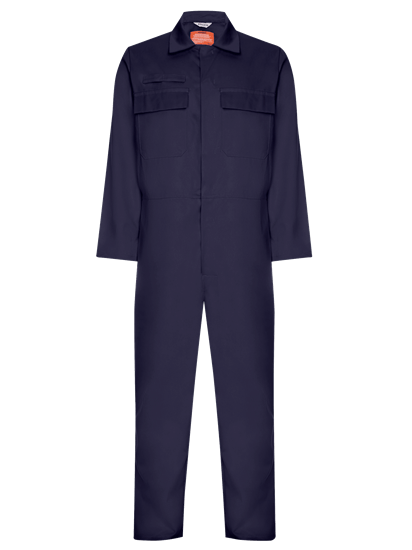 front angle of coverall made from phoenix in navy