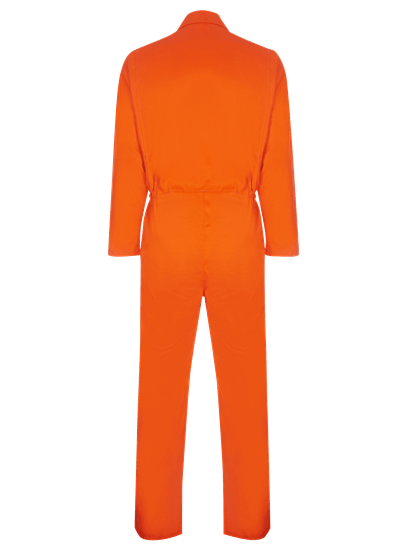 back of coverall made from phoenix in orange
