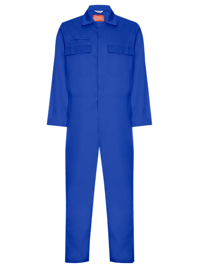 front image of coverall made from phoenix in royal blue