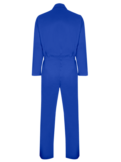 back of coverall made from phoenix in royal blue