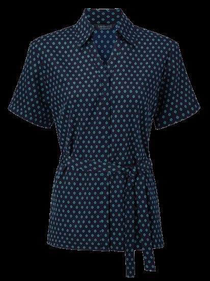 fleur loose blouse with aqua print