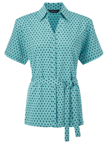 fleur loose blouse in light blue with navy print