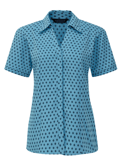 fleur fitted blouse in light blue with navy print