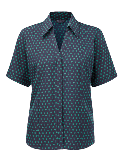 fleur fitted blouse in navy with aqua print