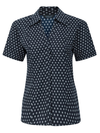 fleur fitted blouse in navy with white print