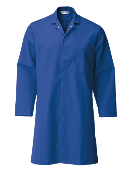 royal blue food trade coat with lower pocket