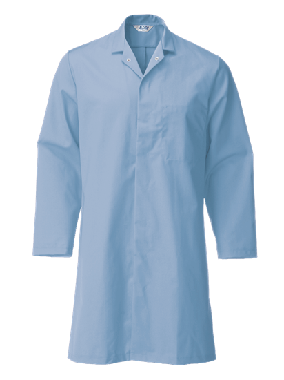 food trade coat with lower pocket in light blue