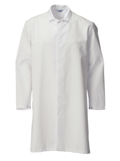white food trade coat with no pockets