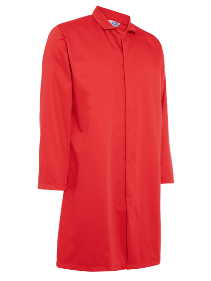 side angle of food trade coat with no pockets