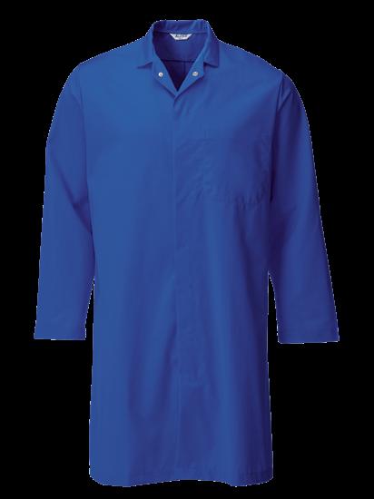royal blue food trade coat with upper pocket