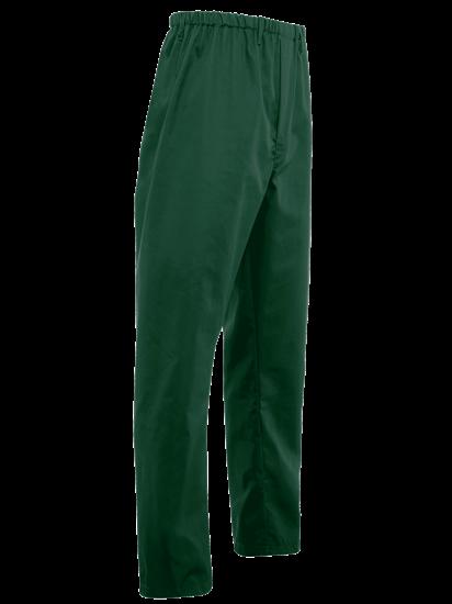 side angle of bottle green food trade trouser full elasticated waist