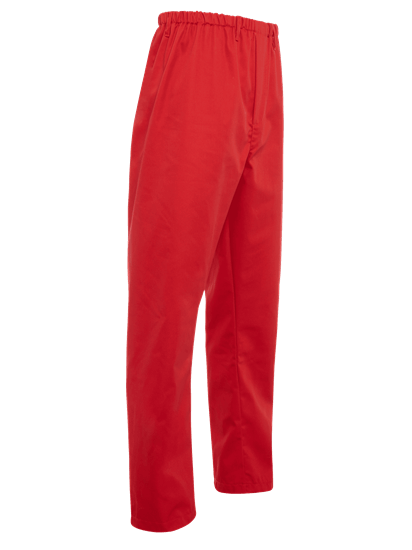 side angle of red food trade trouser full elasticated waist