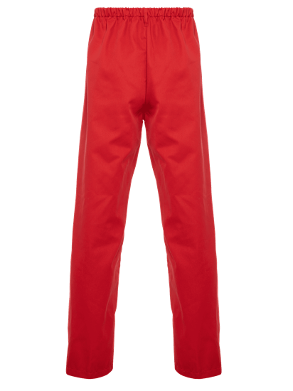 back of red food trade trouser full elasticated waist