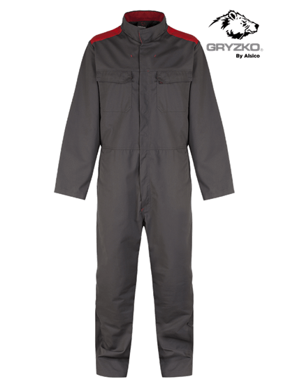 charcoal and red gryzko bi coverall