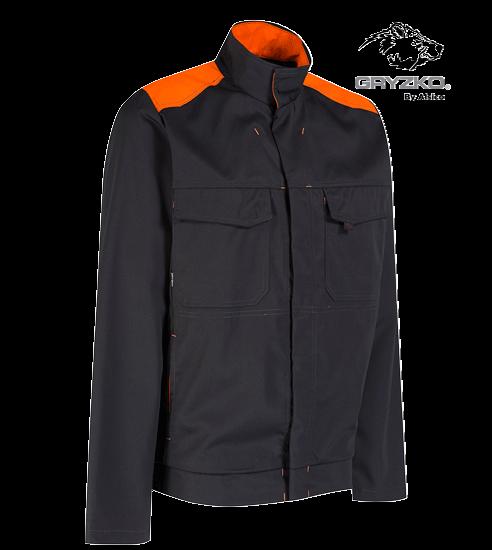 side angle of orange and black gryzko bi jacket