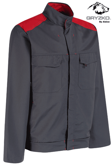 side angle of black and empire red gryzko bi jacket