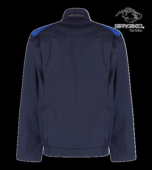 back of navy and royal blue gryzko bi jacket