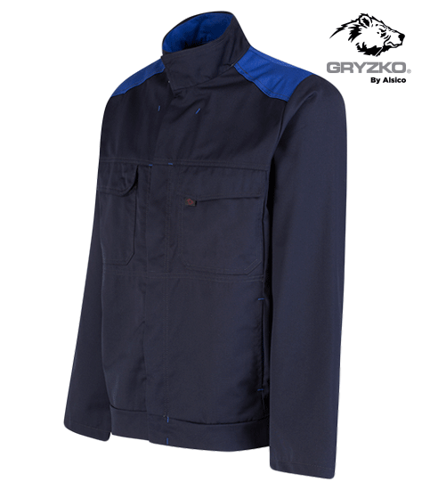 side angle of navy and royal blue gryzko bi jacket