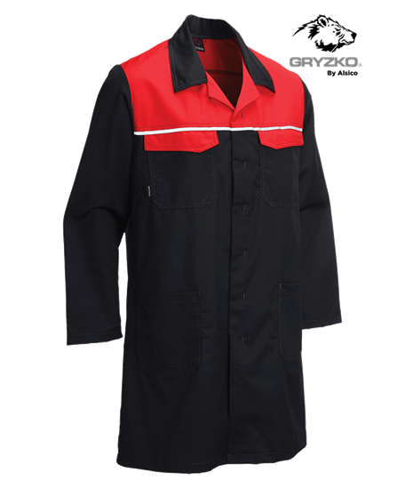 gryzko coat black with empire red blocks