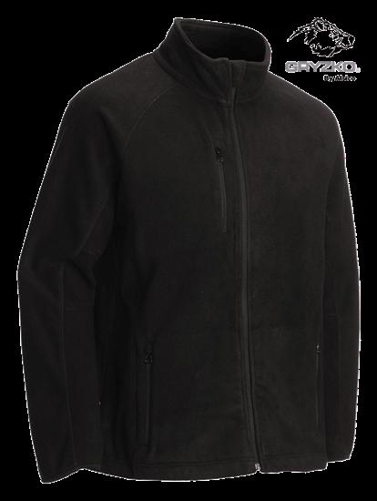 black heavyweight fleece jacket manufactured by gryzko
