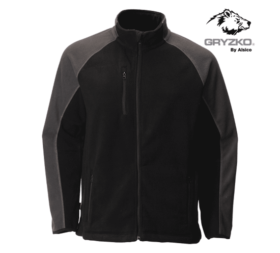 gryzko heavyweight fleece jacket in black charcoal