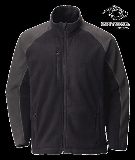 front of navy charcoal gryzko heavyweight fleece jacket