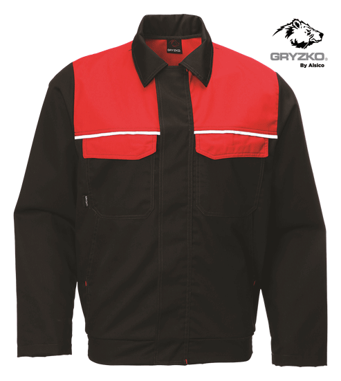 gryzko classic jacket in black and empire red