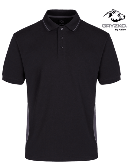gryzko polo with contrast piping - black and grey