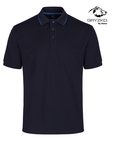 blue shadow gryzko polo with royal blue piping