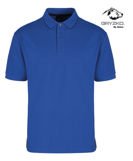 gryzko polo in royal blue with blue shadow piping