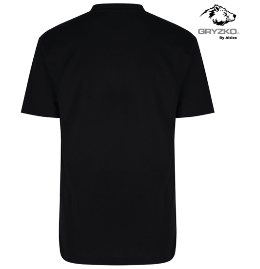 back of polycotton gryzko heavyweight t-shirt in black